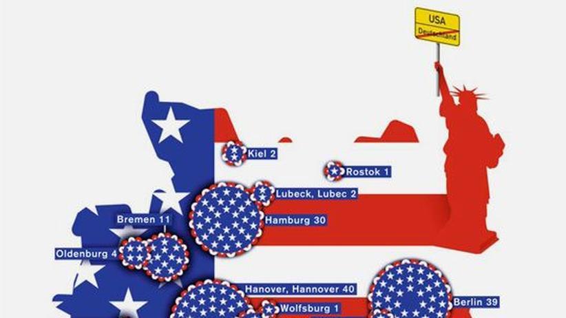 Deutschlandkarte: Städtenamen in Amerika