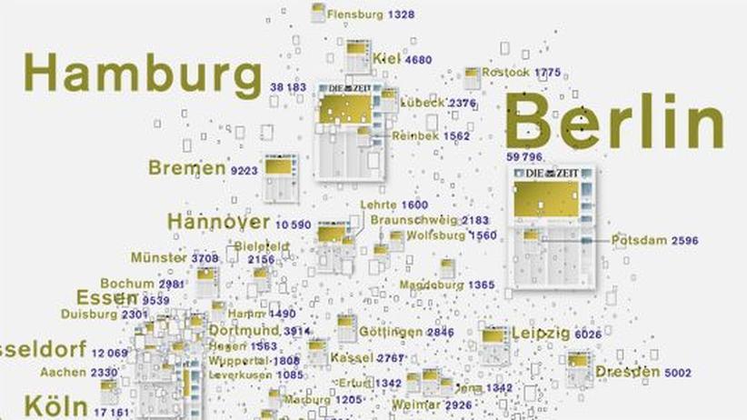 Deutschlandkarte: Städte in der ZEIT