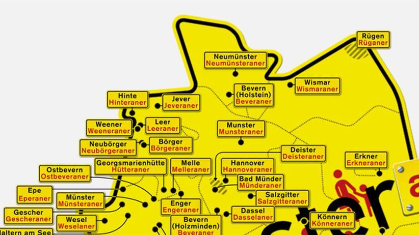 Deutschlandkarte: Münsteraner & Co.