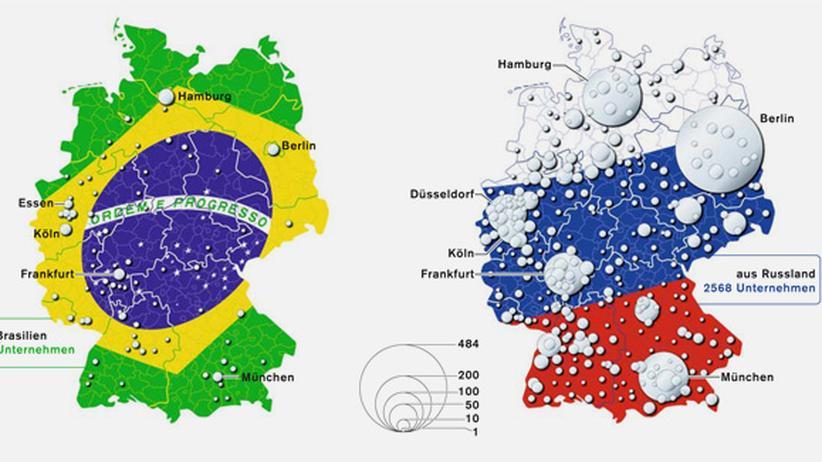 Deutschlandkarte: Geld aus Brasilien, Russland, Indien, China