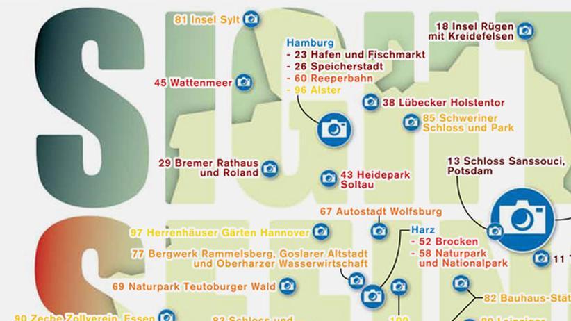 Serie Deutschlandkarte: Beliebteste Touristenorte