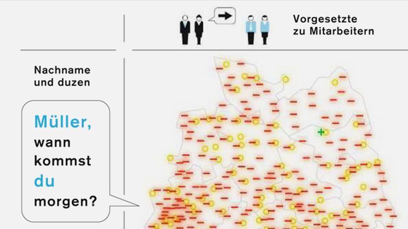 Deutschlandkarte: Duzen und siezen im Büro