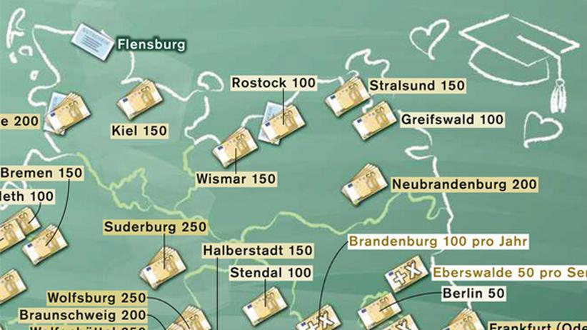 Deutschlandkarte: Begrüßungsgeld für Studenten