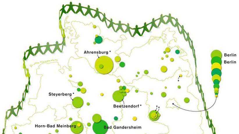 Deutschlandkarte: Alternative Gemeinschaften