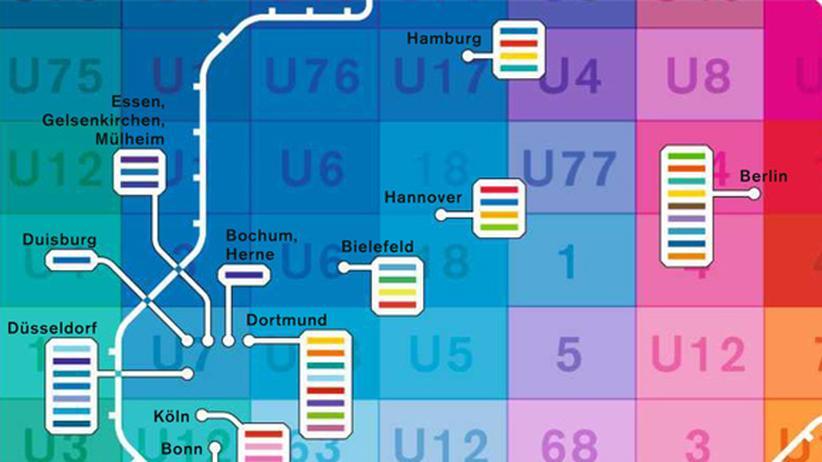 Deutschlandkarte: Farben der U-Bahn-Linien
