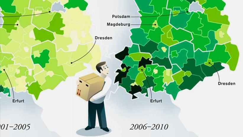 Deutschlandkarte: Rückkehr in den Osten