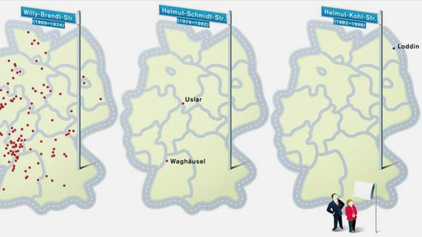 Deutschlandkarte: Bundeskanzlerstraßen