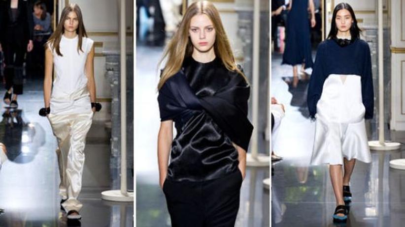 Versteckte Klassiker: Alles Satin! Entwürfe aus der aktuellen Sommerkollektion des Modelabels Celine