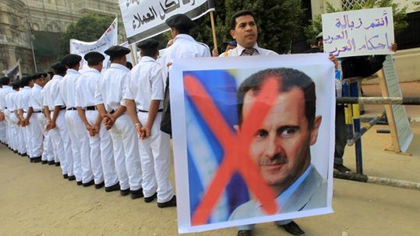 Syrien: Demonstranten vor dem Hauptsitz der Arabischen Liga in Kairo