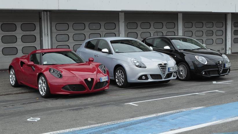 Alfa Romeo Modelle: Mito, Giulietta und 4C (von rechts nach links)