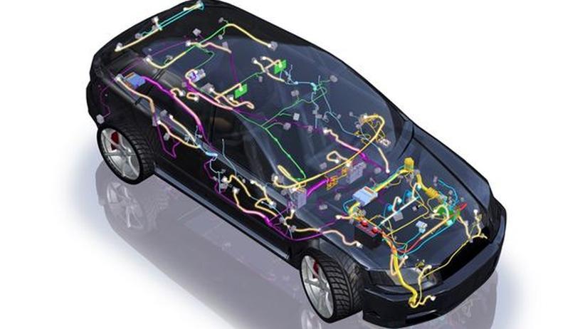 Stromleitungen in einem Elektroauto
