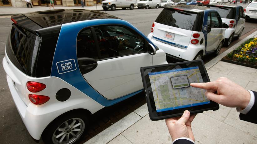 Nutzung eines Carsharing-Autos von Car2go in Washington über ein Tablet (Archivbild)