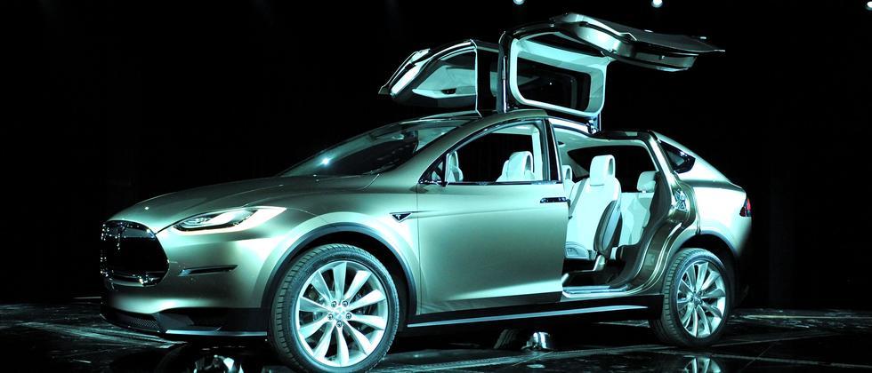 Präsentation des Elektro-SUV Model X von Tesla im Februar 2012 in Los Angeles