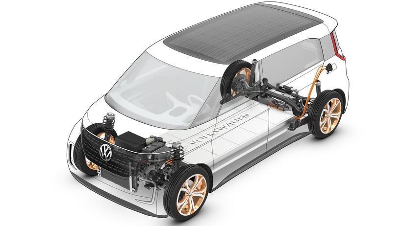 Antriebsstrang und Batterie im Volkswagen BUDD-e