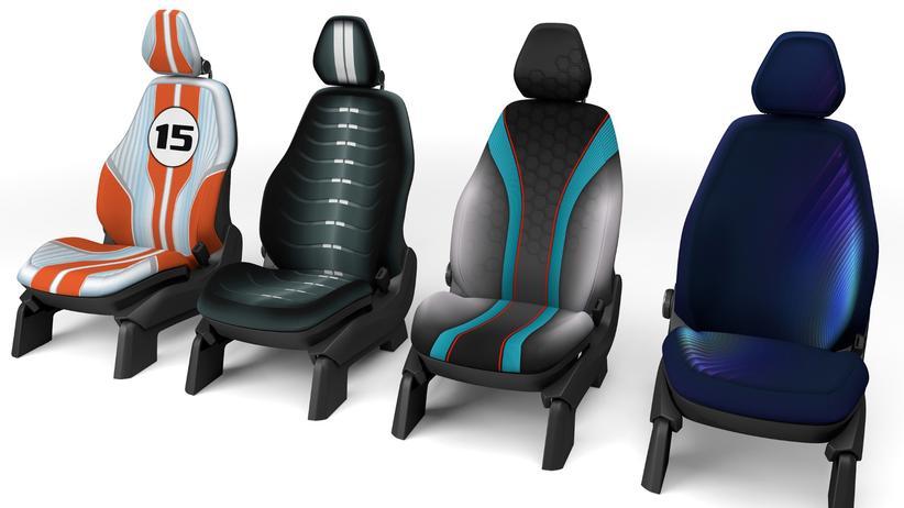Autodesign: Die Sitzbezüge sind per Tintenstrahldrucker bedruckt.