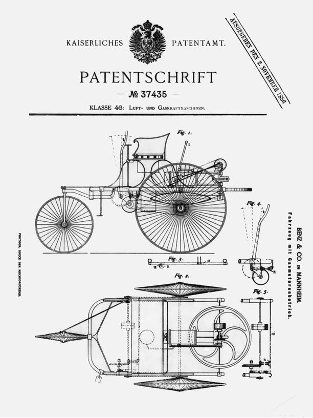 Das Patent vom 2. November 1886 für den von Carl Benz eingereichten Motorwagen