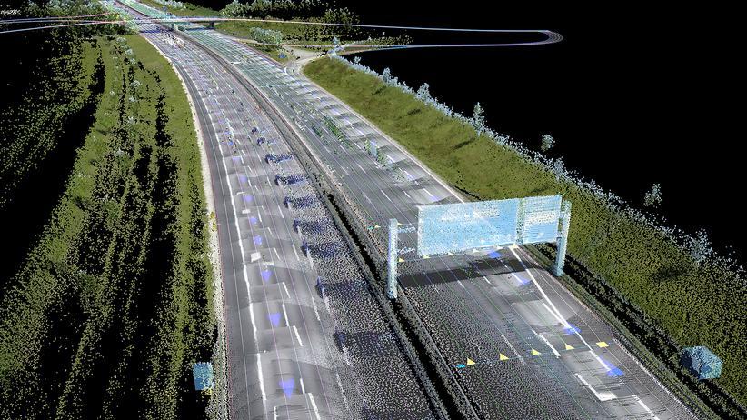 Autonomes Fahren: So sieht Here die Welt: 3-D-Karte einer Autobahn aus Millionen von Einzeldaten.