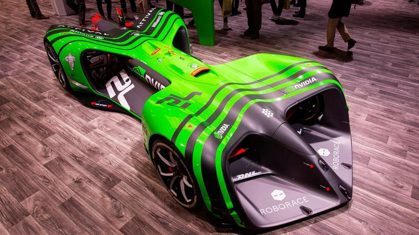 Uber: Das autonom fahrende Rennauto Nvidia Roborace bei der CES in Las Vegas
