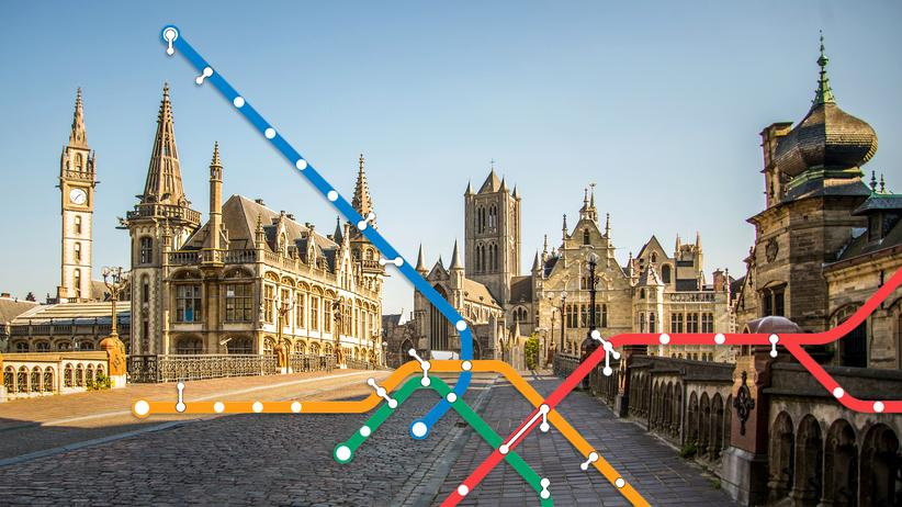 Gent: Die Autos aus dem Straßenbild herausgeschnitten