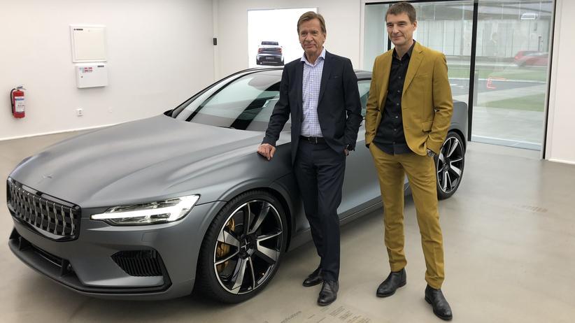 Polestar: Volvo-Chef Håkan Samuelsson (links) und Polestar-Chef Thomas Ingenlath vor dem Polestar 1