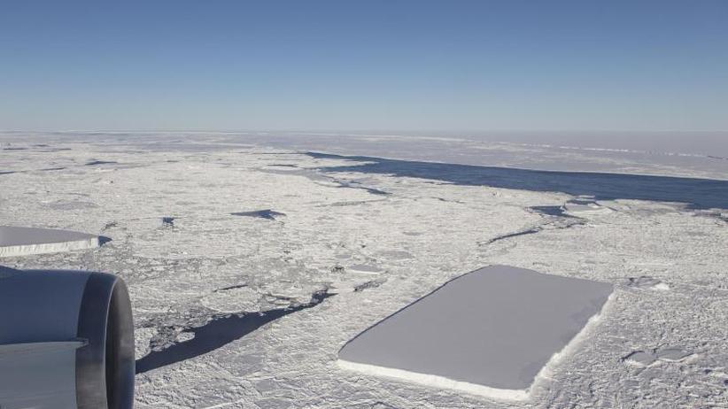 Seltener Tafeleisberg: Eckig und eisig: Rechteckiger Eisberg in der Antarktis