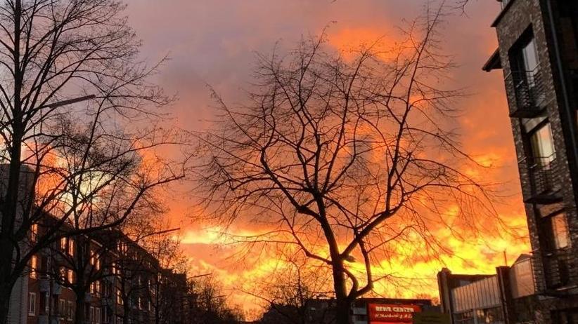 Farbenfroher Sonnenuntergang: Hamburger hielt Abendrot für Brand und rief die Feuerwehr