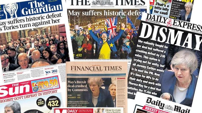 """""""In einer idealen Welt..."""": Internationale Pressestimmen nach dem Nein zum Brexit-Deal"""