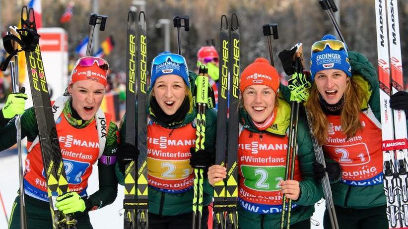 Weltcup in Ruhpolding: Nicht gewonnen, aber zufrieden: Biathletinnen Staffel-Dritte