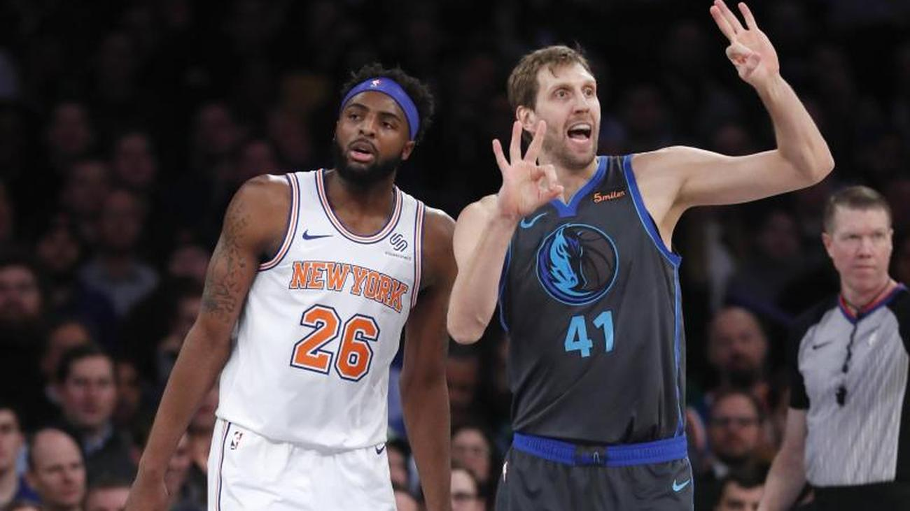 New York (dpa) - Basketball Oldie Dirk Nowitzki has celebrated with the  Dallas Mavericks in the North American NBA the third victory of the past  four games. 98458a13d6213
