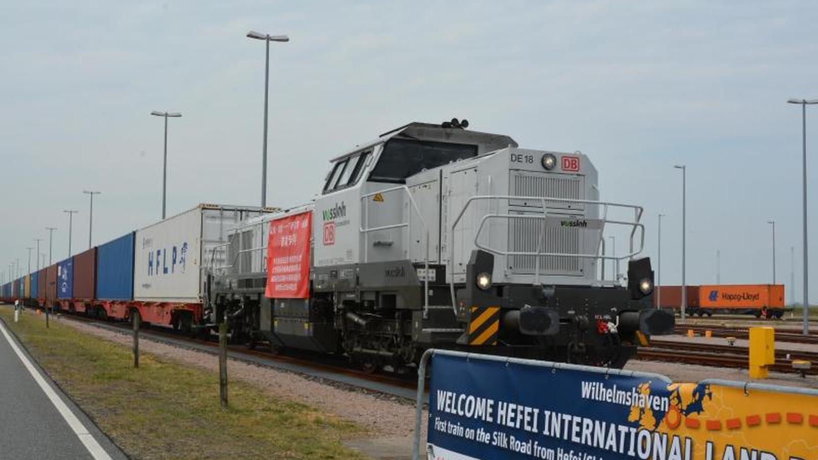 Bahn: Der erste Güterzug aus China kommt am Güterverkehrszentrum des Tiefwasserhafens JadeWeserPort an.