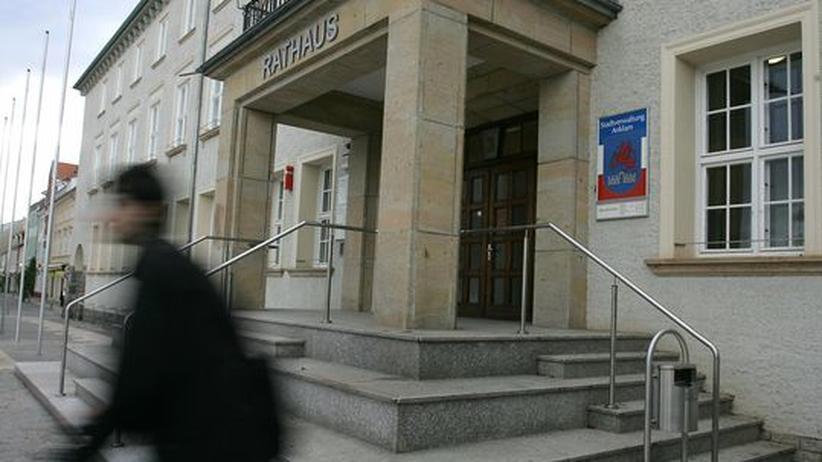 Das Rathaus in Anklam: von hieraus regiert Buergermeister Galander seine Stadt