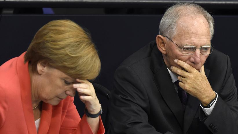 Politik, Griechenland-Sondersitzung, Griechenland, Bundestag, Angela Merkel, Sigmar Gabriel, Wolfgang Schäuble, Euro-Krise, Staatsverschuldung