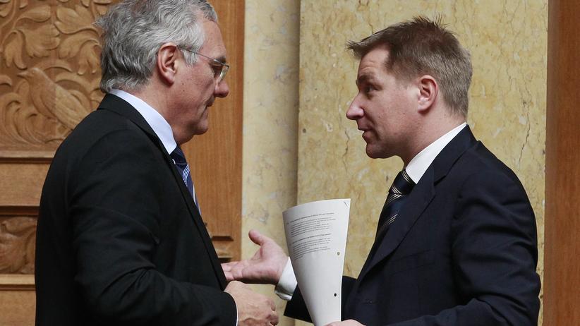 SVP-Parteipräsident Toni Brunner (r.) und Nationalrat Thomas Müller