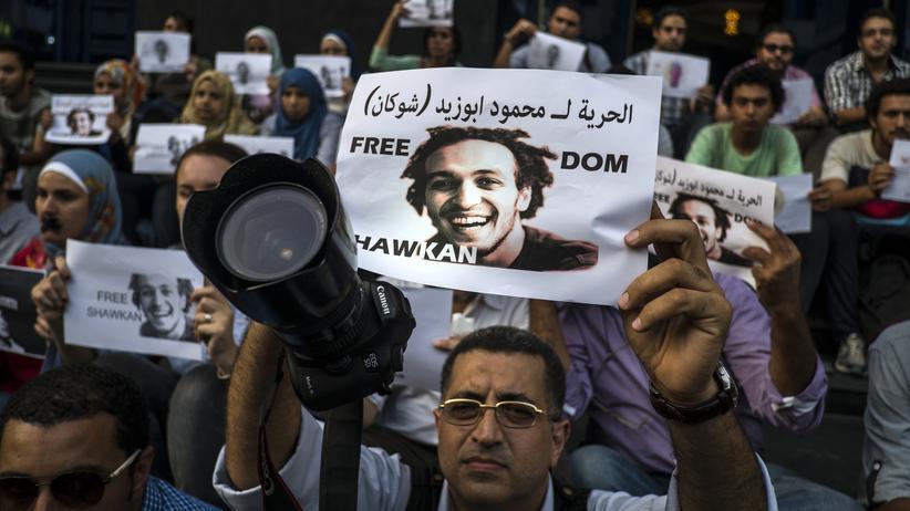 Ägypten: Ägyptische Fotojournalisten demonstrieren in Kairo für die Freilassung ihres Kollegen Mahmoud Abouzied, genannt Shawkan.