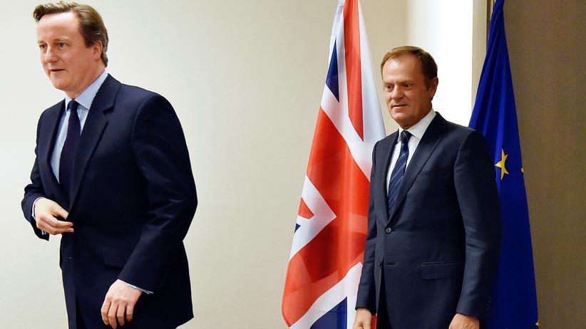 Brexit: Donald Tusk (rechts) zusammen mit David Cameron vor dem Beginn ihrer Verhandlungen über mögliche Reformen der EU