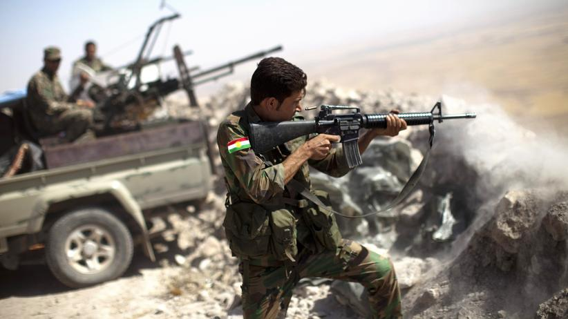 Irak: Ein kurdischer Peschmerga-Kämpfer in einer Gefechtstellung etwa 25 Kilometer von Mossul entfernt (Archivbild, 2014)