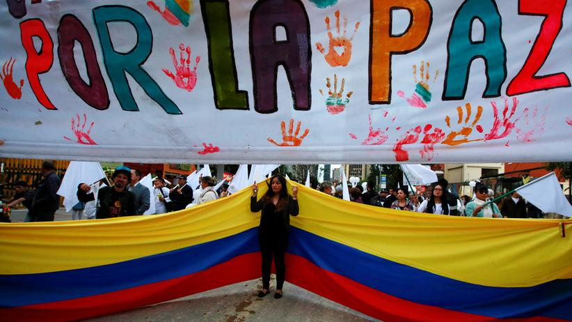 Kolumbien: Demonstranten fordern ein Ende des Bürgerkriegs in Kolumbien.