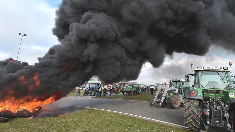 Ost-Ausschuss der Deutschen Wirtschaft: Französische Landwirte verbrennen aus Protest gegen die Russland-Sanktionen Reifen.