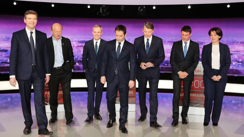 TV-Duell der französischen Sozialisten: Die Kandidaten der französischen Sozialisten vor Beginn des TV-Duells