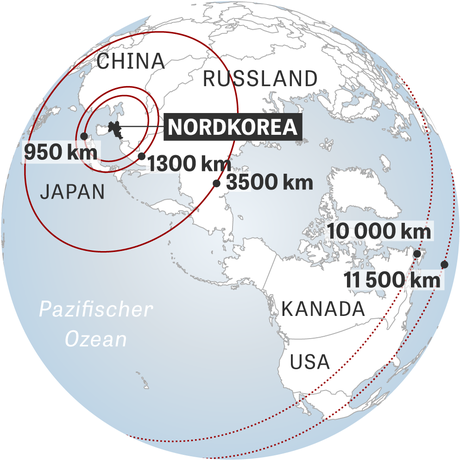 Wasserstoffbombe: Radien um Nordkorea in Kilometern