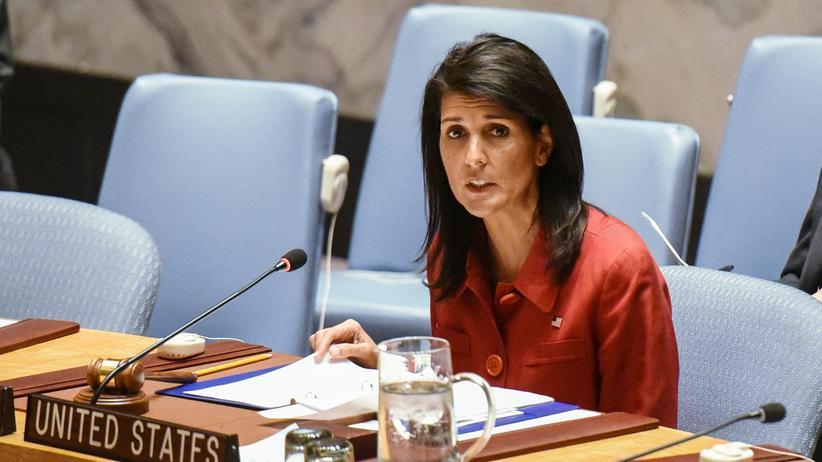 Syrien: Die US-Botschafterin bei den Vereinten Nationen, Nikki Haley, im UN-Sicherheitsrat in New York