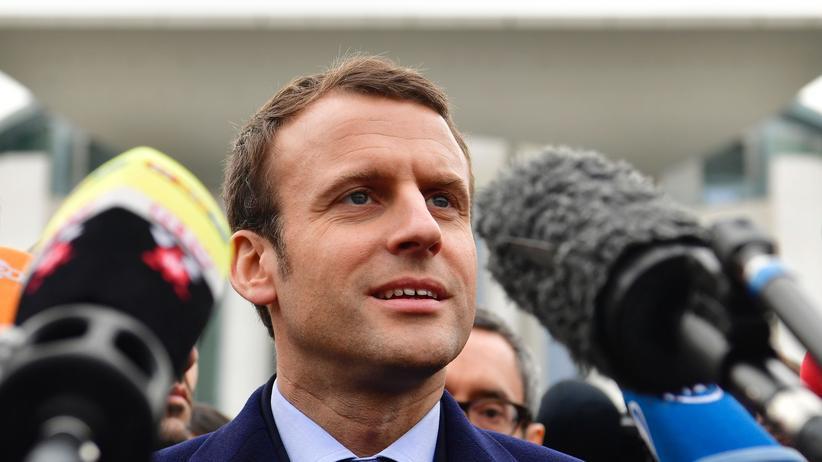 Präsidentschaftswahl in Frankreich: Im März war der neoliberale Präsidentschaftskandidat Emmanuel Macron zu Besuch in Berlin.