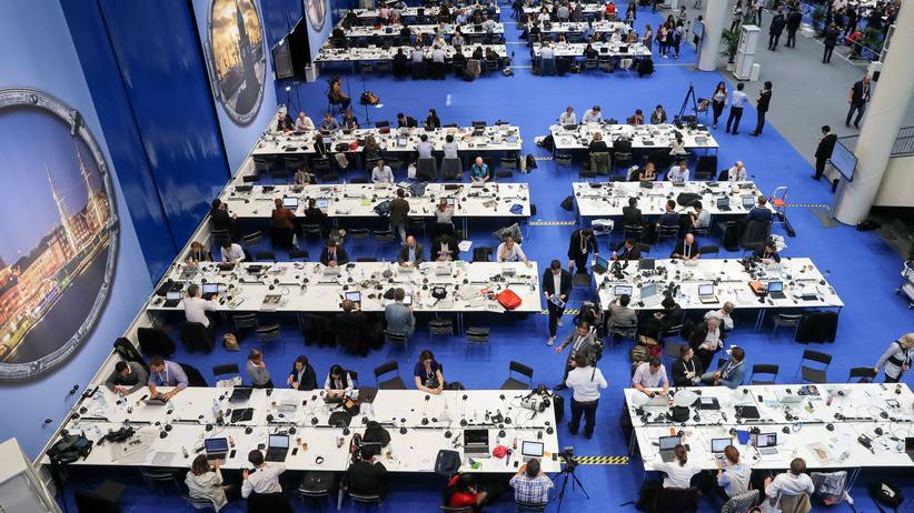 G20-Akkreditierungen: Journalisten im Pressezentrum des G20-Gipfels in Hamburg