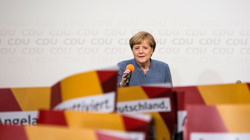 Angela Merkel nach Bekanntgabe der Wahlergebnisse