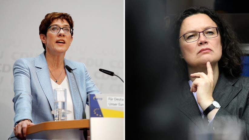 Wahlergebnis in Deutschland: Schwach, wie sie sind, müssen sie Stärke simulieren: die CDU-Vorsitzende Annegret Kramp-Karrenbauer und SPD-Chefin Andrea Nahles.