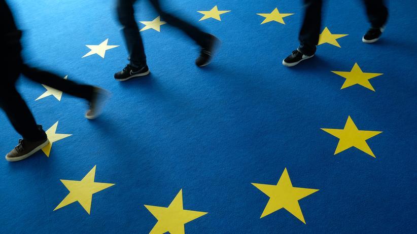 Europäische Union: EU-Flagge als Teppich (in der CDU-Zentrale in Berlin zur Europawahl)