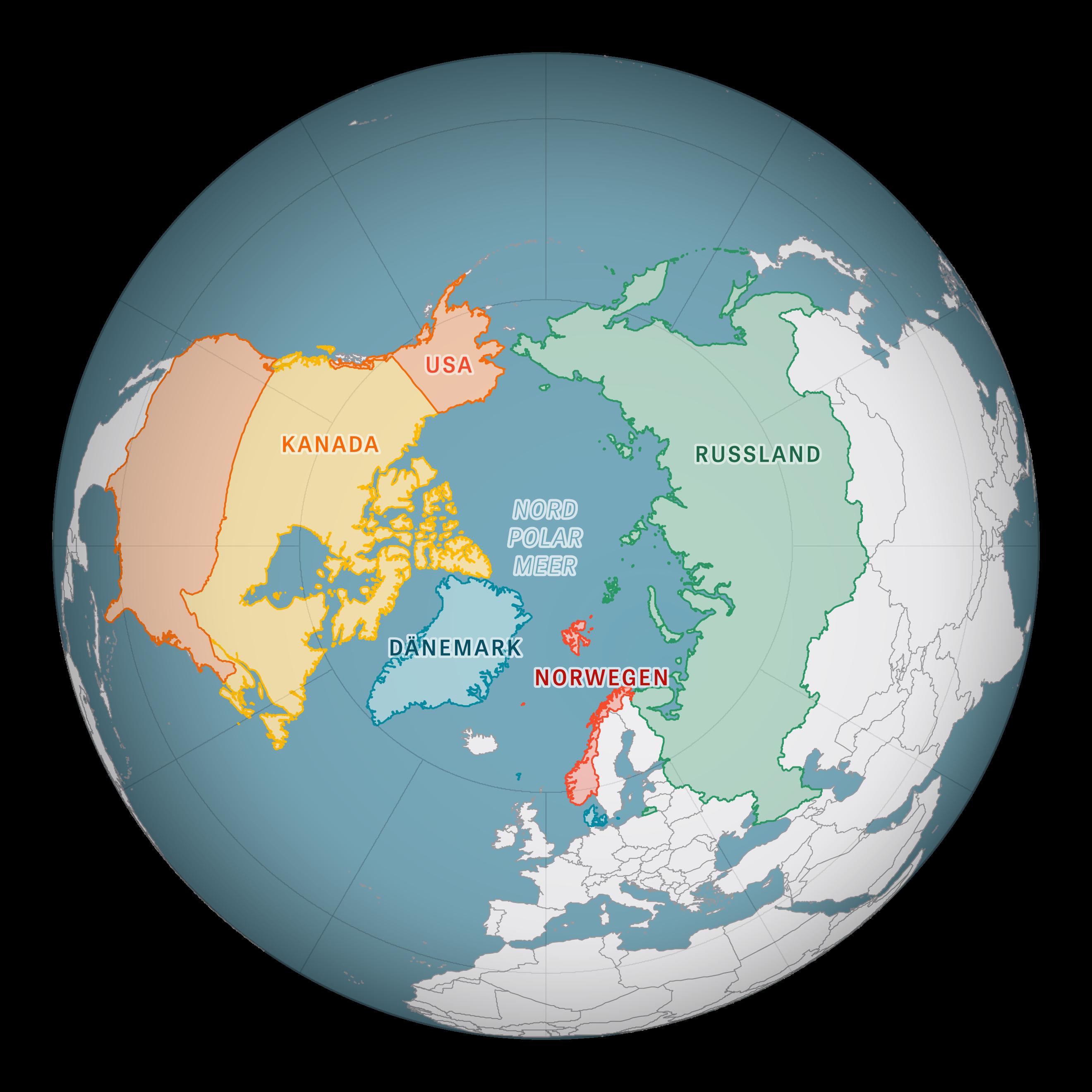 Fünf Länder reihen sich um das Nordpolarmeer: Die größte Fläche nimmt Russland ein. Außerdem grenzen die USA über den Bundesstaat Alaska an den Arktischen Ozean sowie Kanada, Norwegen mit der Inselgruppe Spitzbergen, und Grönland, das zu Dänemark gehört.