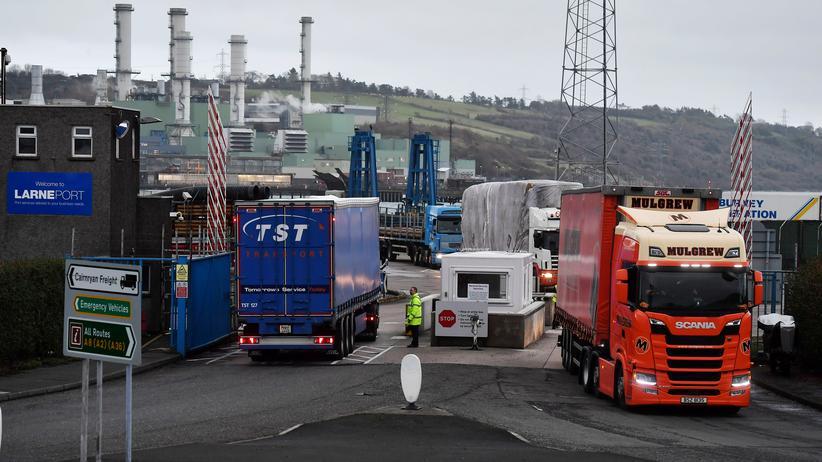 Europäische Union: Ein Kontrollpunkt im Hafen von Larne in Nordirland. Für die Zollregelung dort liegt bei den Brexit-Verhandlungen offenbar ein Kompromiss auf dem Tisch.
