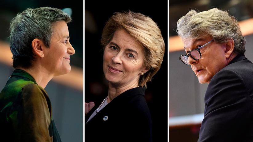 EU-Kommission: Mit die wichtigsten Köpfe der neuen EU-Kommission: Wettbewerbskommissarin Margrethe Vestager (links), die neue Chefin Ursula von der Leyen und der neue Binnenmarktkommissar  Thierry Breton