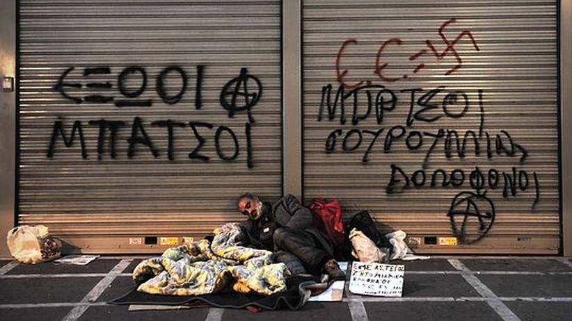 Eine große Angst der Griechen in der Schuldenkrise: Sozialer Abstieg, wie ihn diesen Obdachlosen ereilte